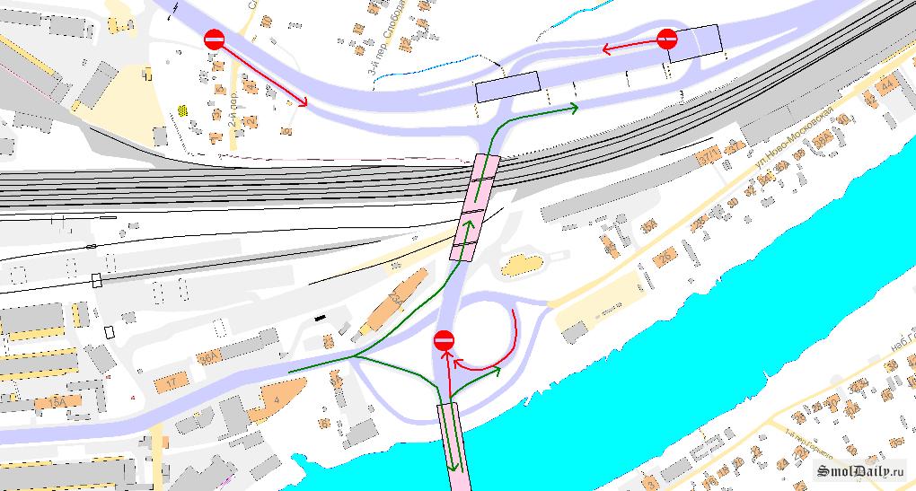 Схема движения по мосту: