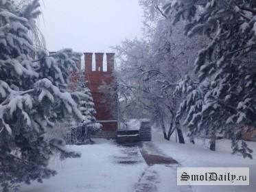 зима, тротуар, снег