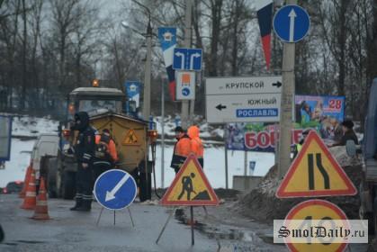 проспект Строителей, ямочный ремонт, дороги