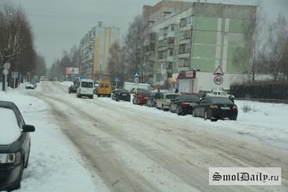дорога, зима, снег, улица Кловская