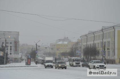 снег, площадь победы