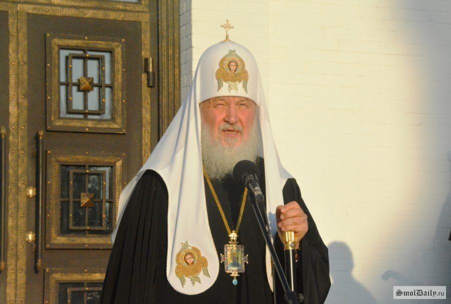 Патриарх Кирилл освятил храм Георгия Победоносца вСмоленской области